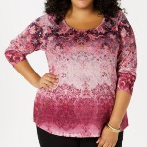Style & Co. Womens Embellished Printed Pullover